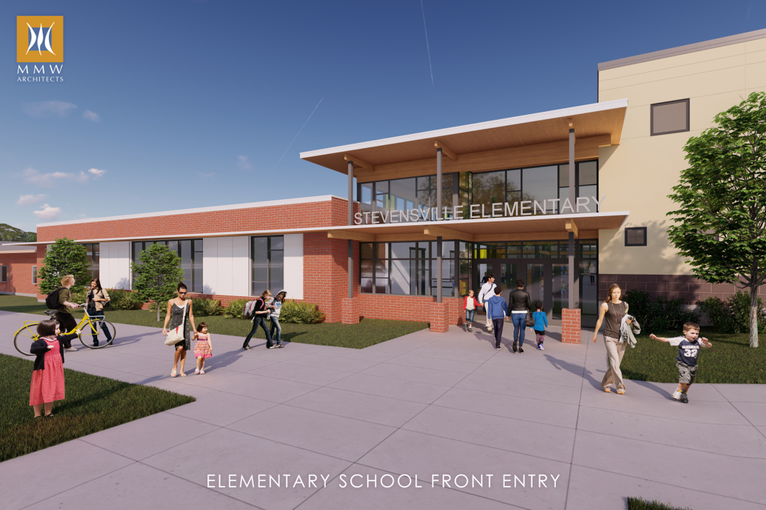 An updated sketch of the updated entry to the Primary School building.